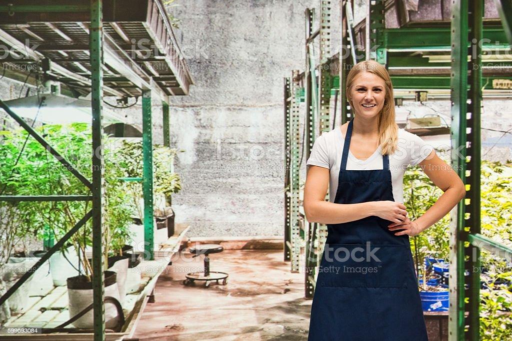 Smiling female florist standing in marijuana plant stock photo