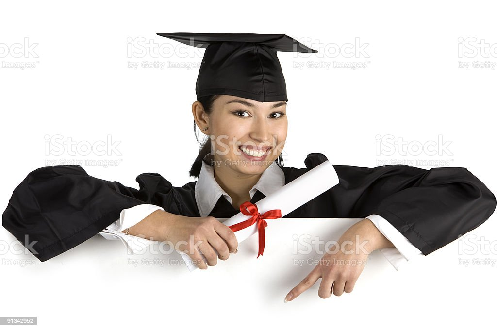 Smiling female graduate holding a sign with diploma . XXXL royalty-free stock photo