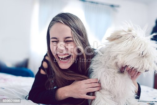 istock Smiling Female Having Fun with her Poodle Dog in Bed 659601666