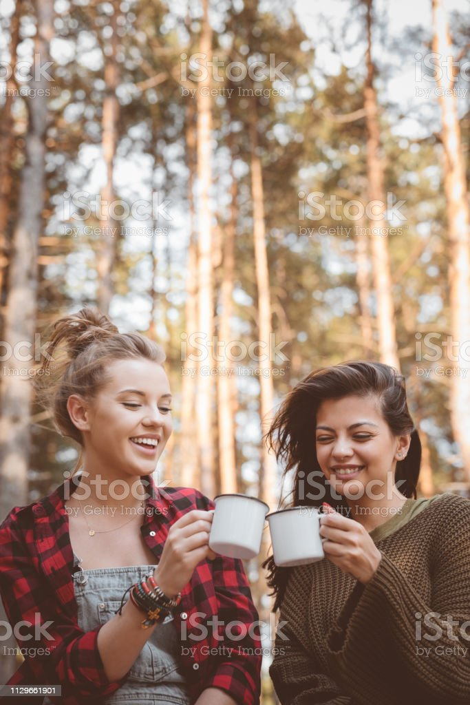 Smiling female hikers toasting cups in forest Smiling female hikers toasting cups. Beautiful young women are in forest. They are enjoying summer vacation. 20-24 Years Stock Photo
