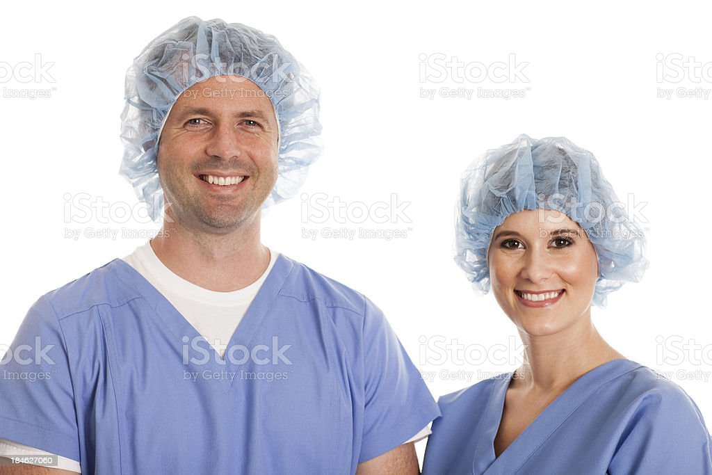 Smiling Female Nurse and Male Doctor on White Background stock photo