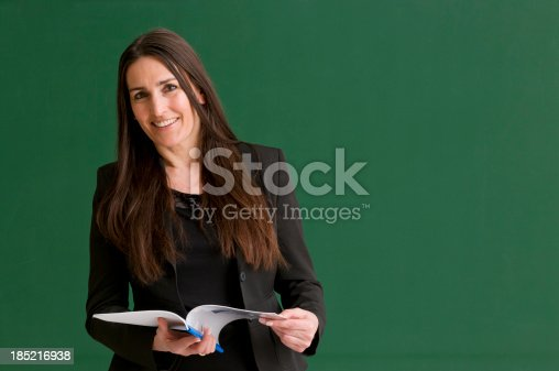istock Smiling female teacher against a green chalkboard. 185216938