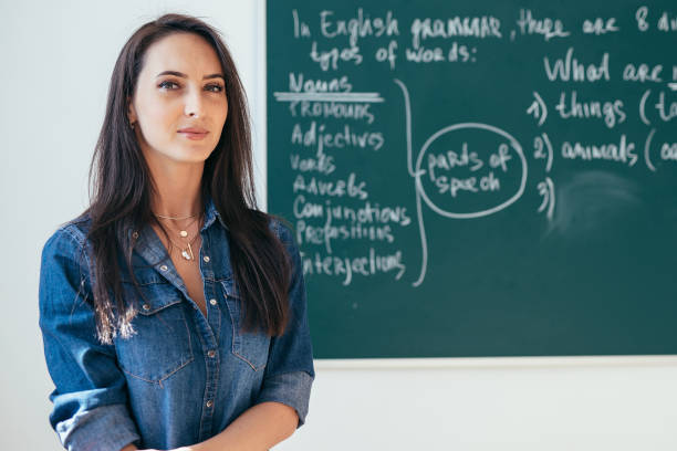 Smiling female teacher standing in front of blackboard in classroom stock photo