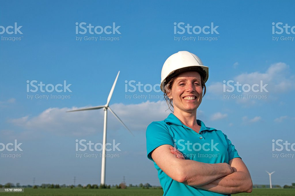 Smiling Female Windmill Engineer royalty-free stock photo