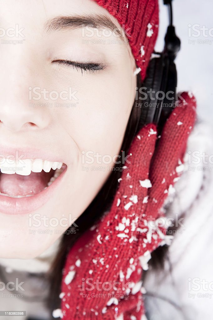 Smiling female with headphones royalty-free stock photo