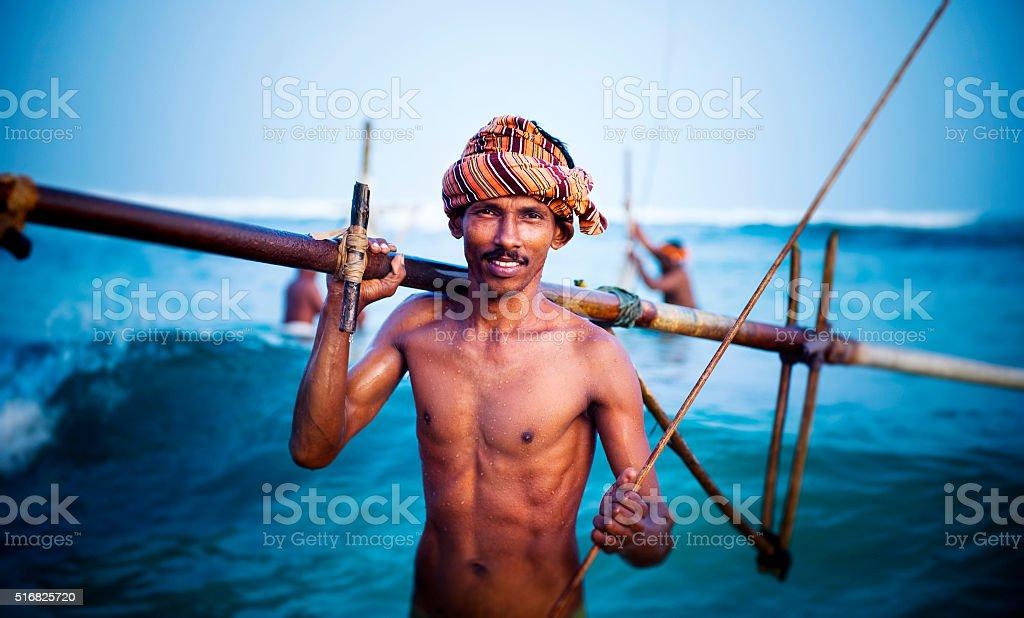 Smiling Fisherman Portrait Cultural Fishing Concept stock photo