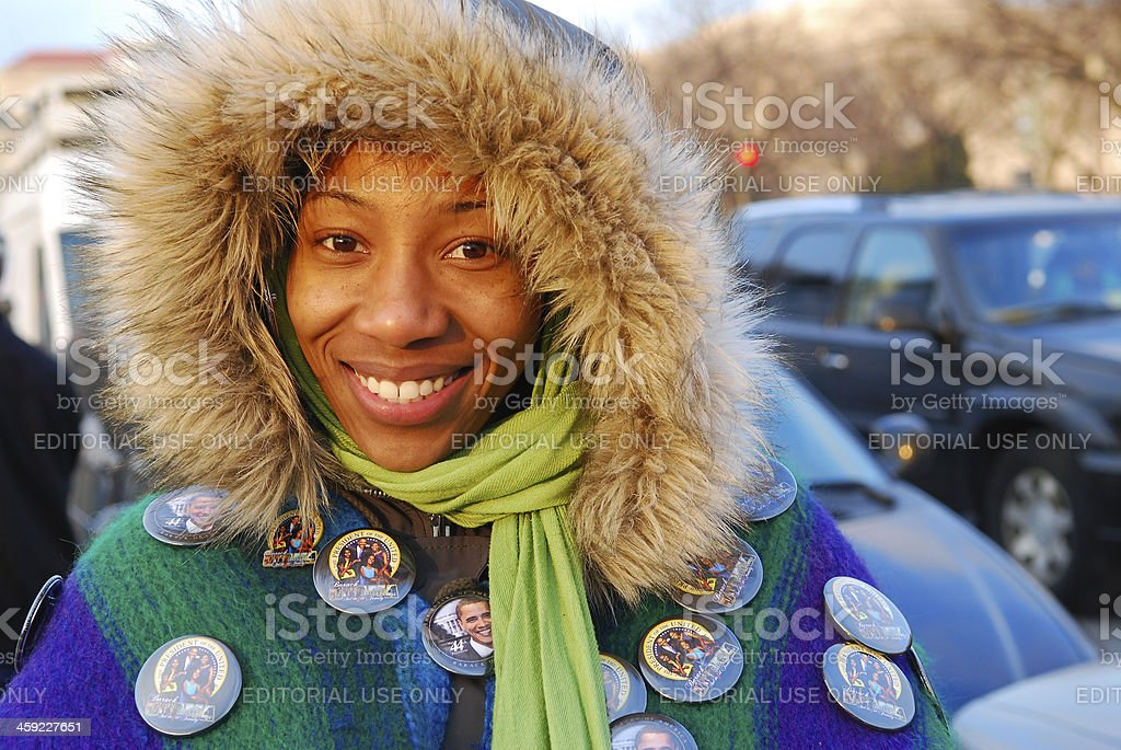 Smiling for Obama stock photo