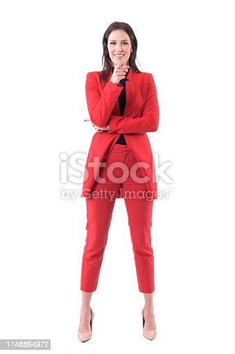 istock Smiling friendly business woman from human resources pointing finger showing you to join team. 1148864972