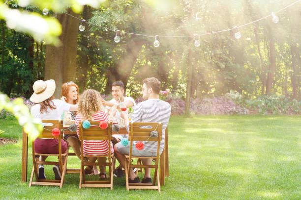 sorrindo de amigos durante a festa de jardim - festa no jardim - fotografias e filmes do acervo