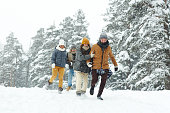 istock Smiling friends walking in winter forest 1057945546