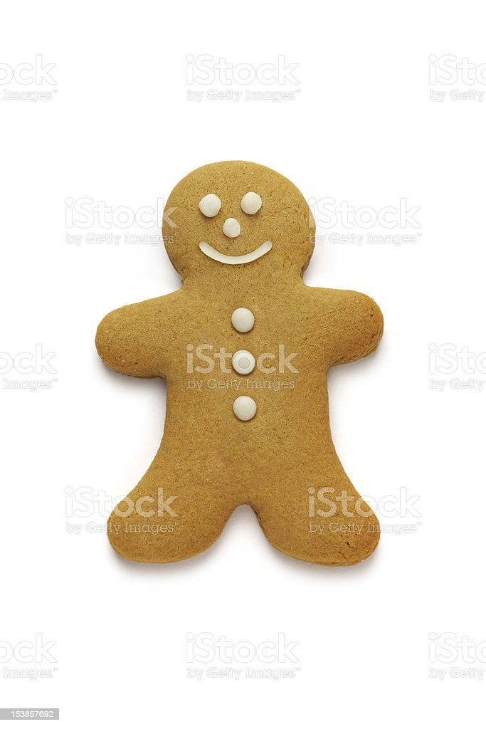 Smiling gingerbread man on white background stock photo
