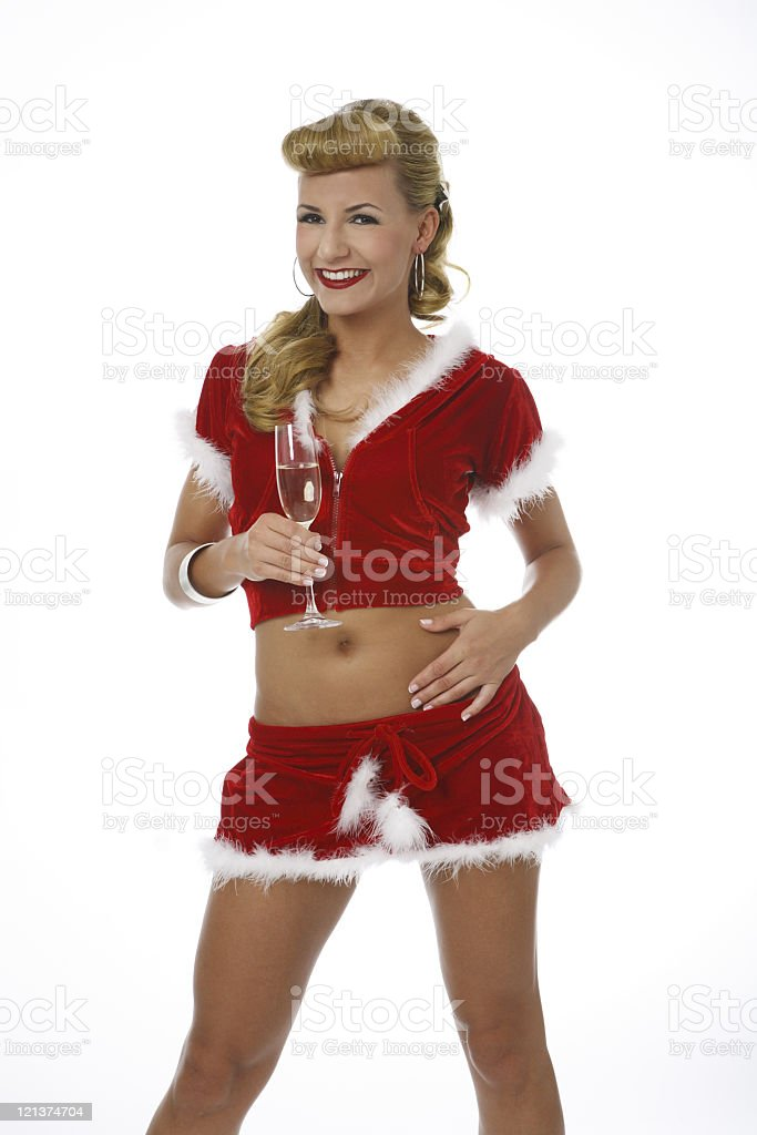 Smiling Girl in Christmas outfit royalty-free stock photo