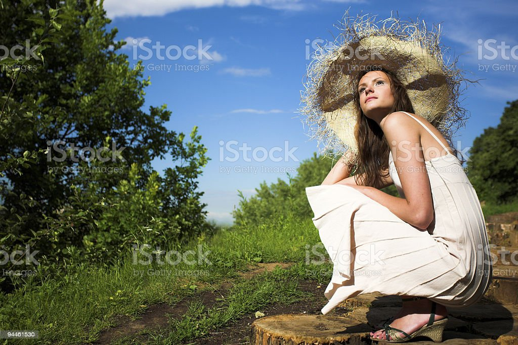 Smiling girl in hat royalty-free stock photo