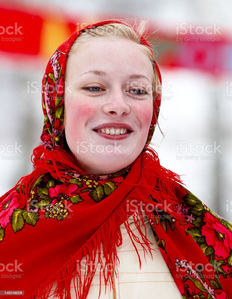 Smiling girl in russian traditional costume royalty-free stock photo