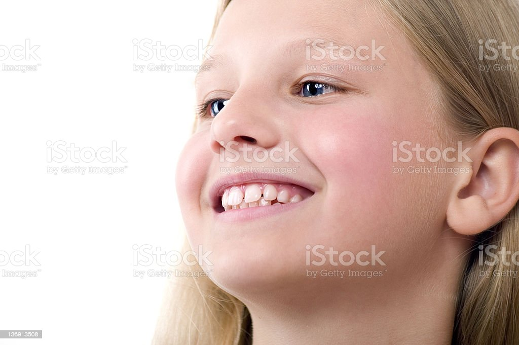 Smiling Girl On White stock photo