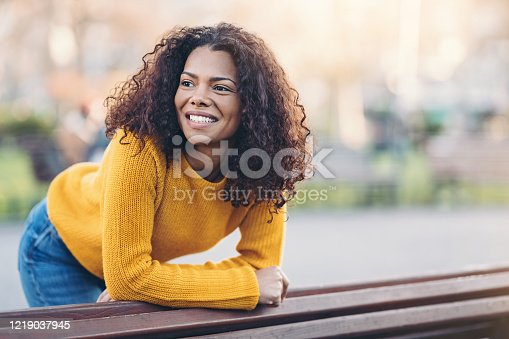 Smiling young African-American ethnicity woman