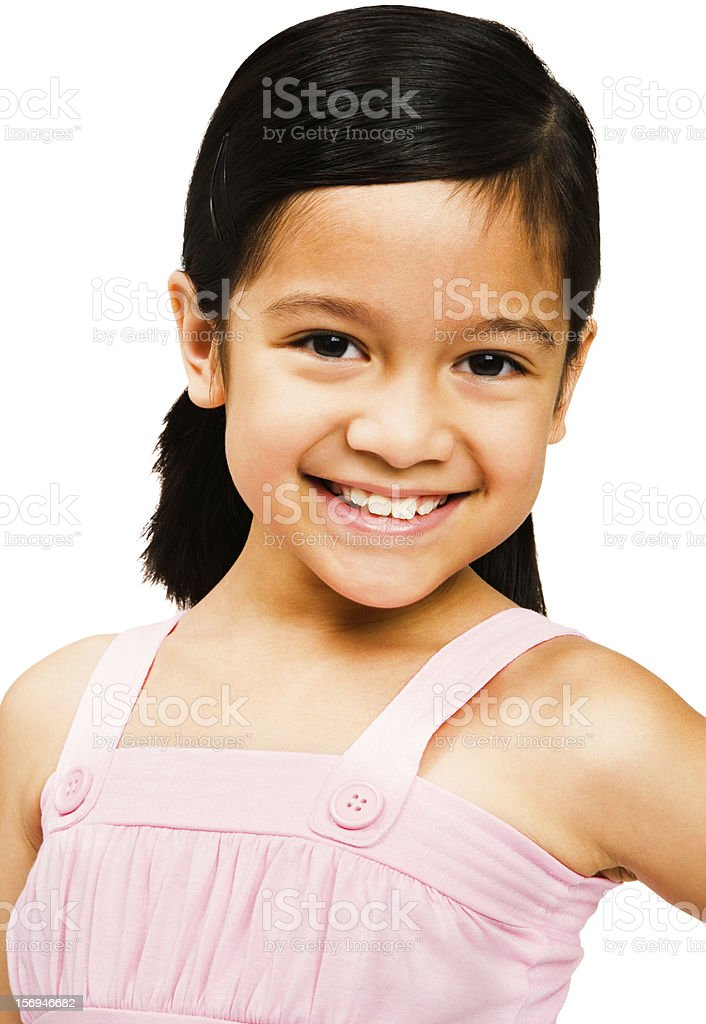 Smiling girl posing isolated over white royalty-free stock photo