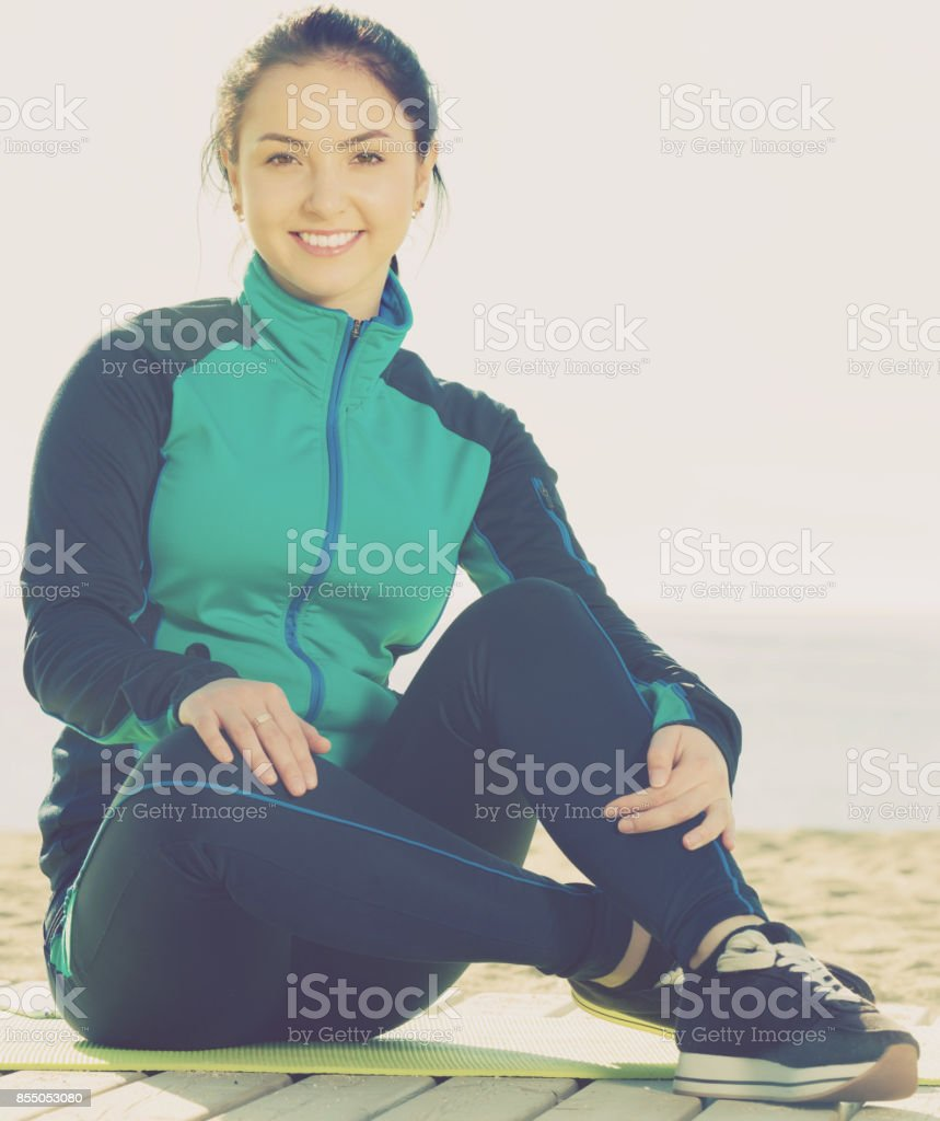 Smiling girl ready to begin usual training stock photo