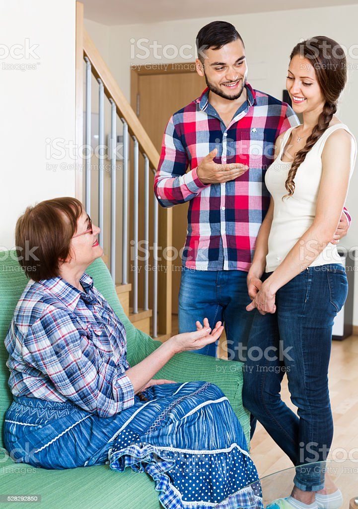 Smiling girl showing his husband stock photo