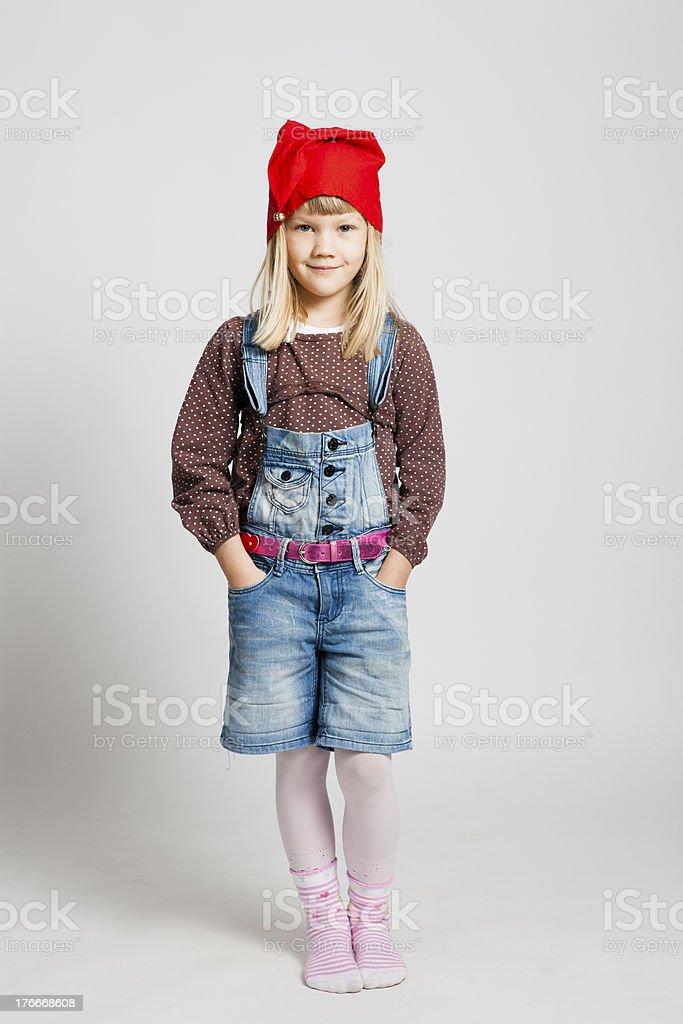 Smiling girl wearing Christmas hat royalty-free stock photo