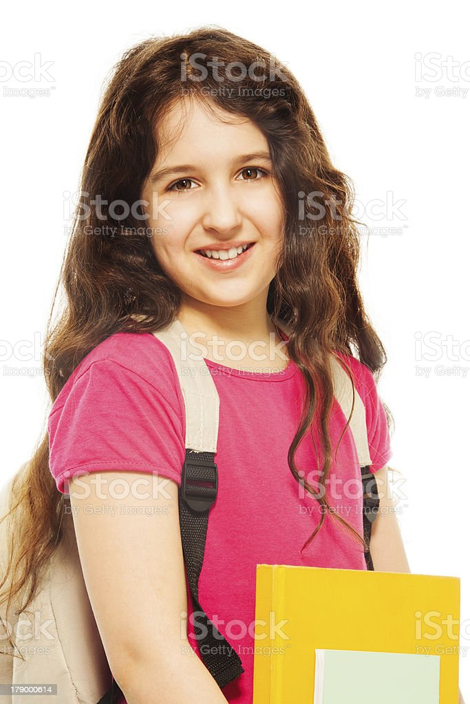 Smiling girl with books royalty-free stock photo