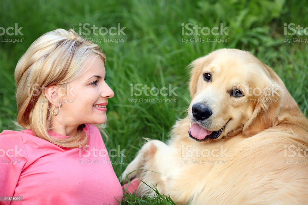 Smiling girl with dog royalty-free stock photo