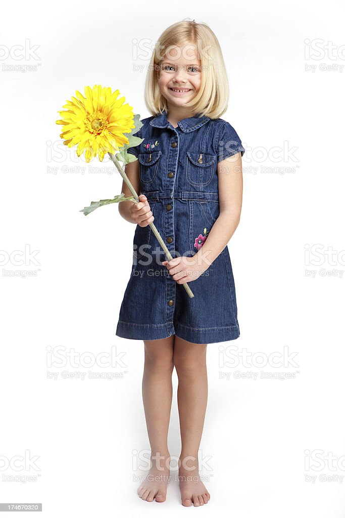 Smiling Girl with flower royalty-free stock photo