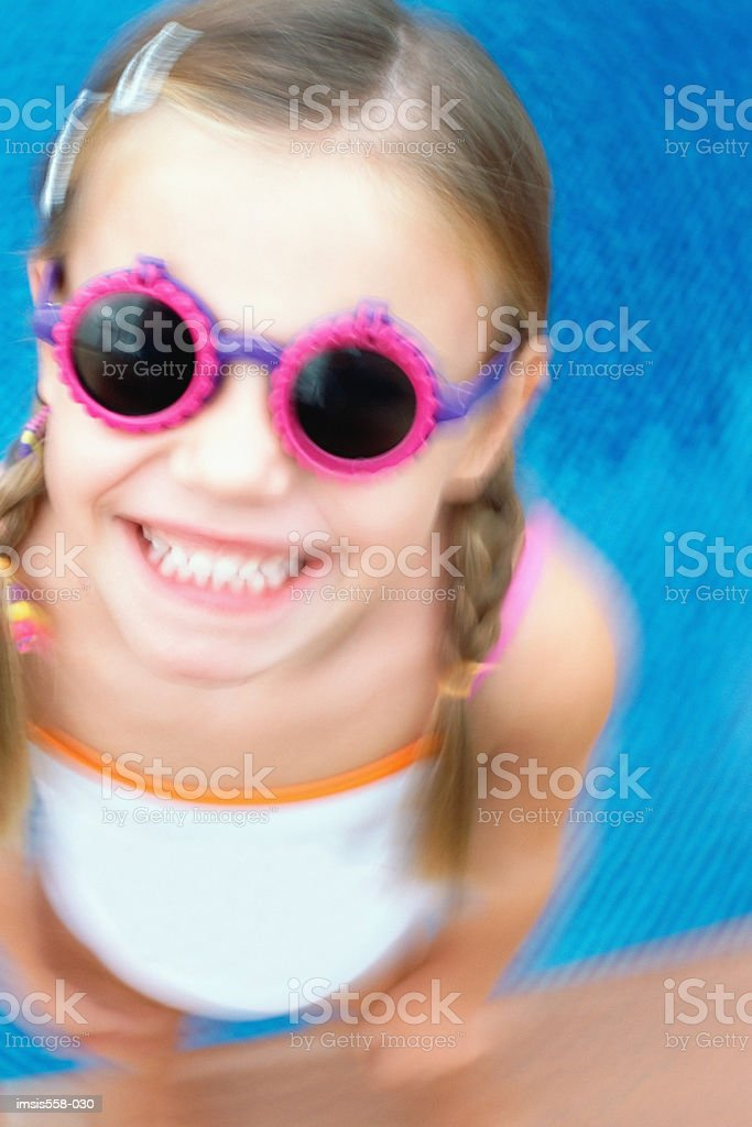 Smiling girl with goggles royalty free stockfoto