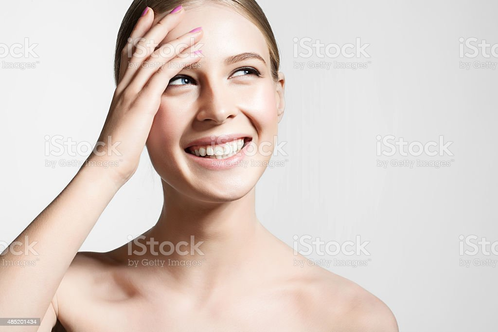 Smiling girl with perfect clean skin stock photo