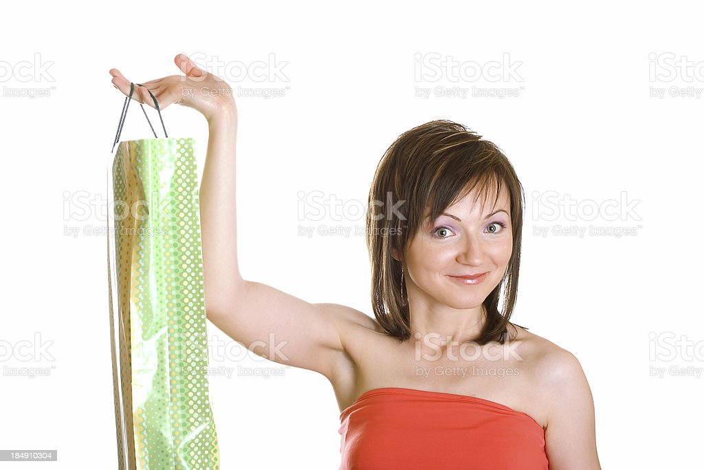 Smiling girl with shopping bag stock photo