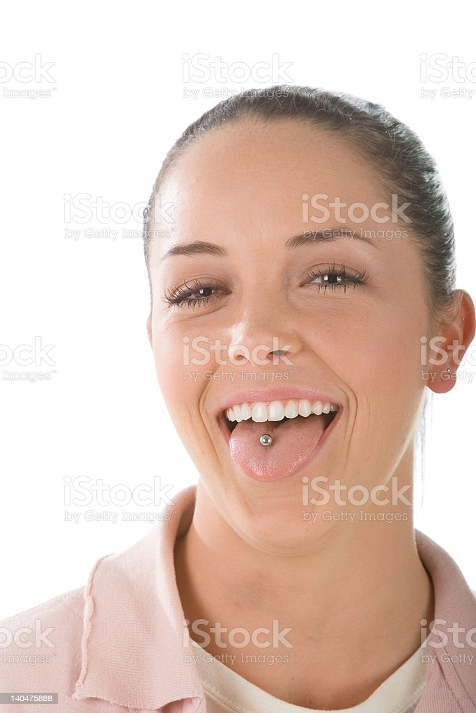 Smiling girl with tongue piercing royalty-free stock photo
