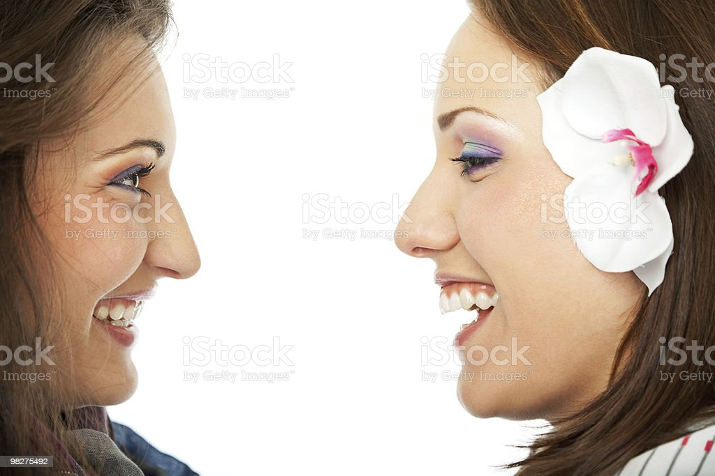 Smiling girlfriends royalty-free stock photo