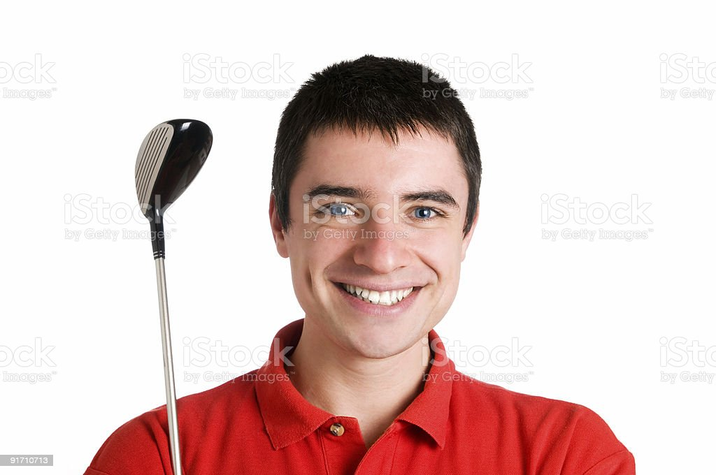 Smiling golf player royalty-free stock photo