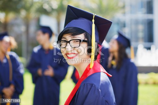 istock Smiling graduate standing outdoors 143071593