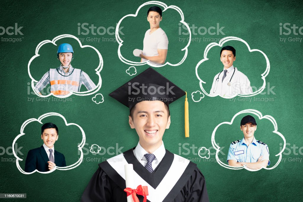 smiling graduation thinking about different jobs concepts
