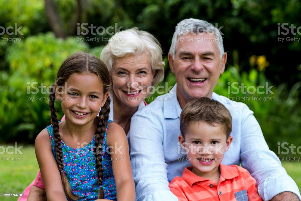 Smiling grandparents with grandchildren at yard foto stock royalty-free