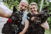 istock Smiling gray-haired couple with two black dogs in park 1157988890