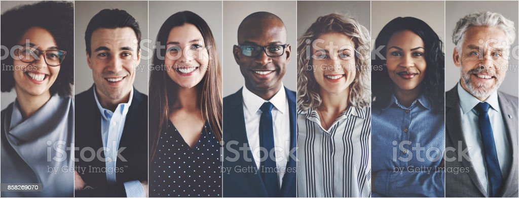 Smiling group of ethnically diverse businessmen and businesswomen Collage of portraits of an ethnically diverse and mixed age group of focused business professionals Adult Stock Photo