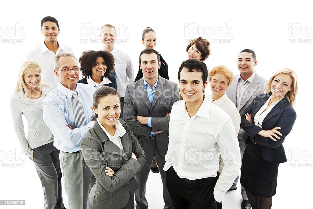 Smiling group of successful business people stock photo