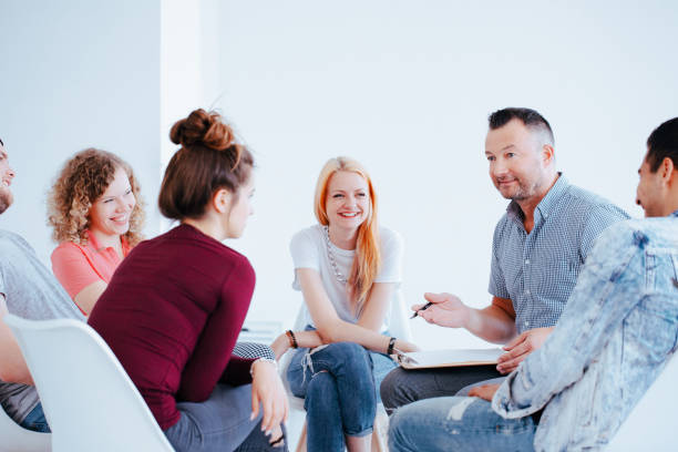smiling group of teenagers - school counselor stock photos and pictures