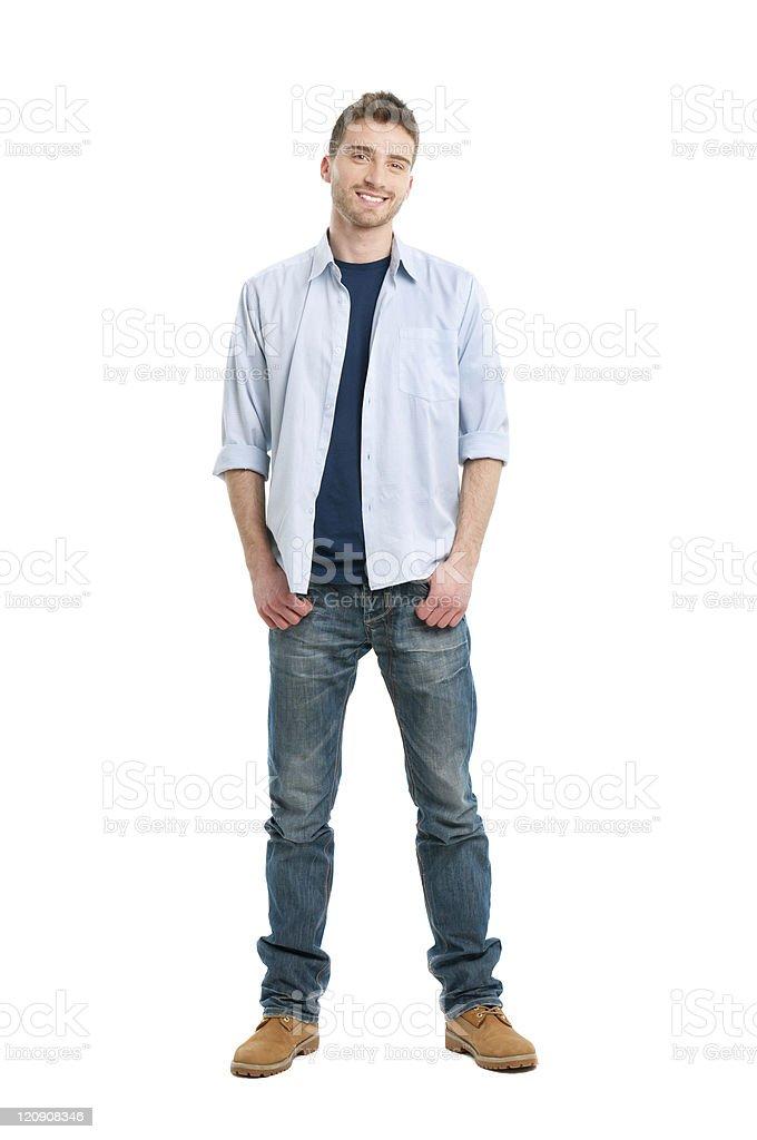 Smiling guy full length stock photo