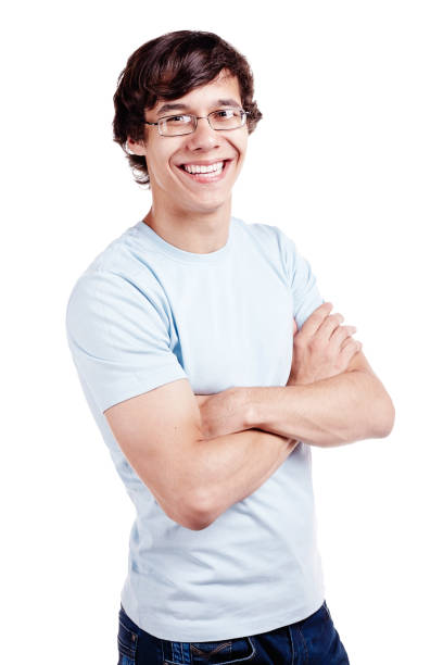 Smiling guy with crossed arms stock photo