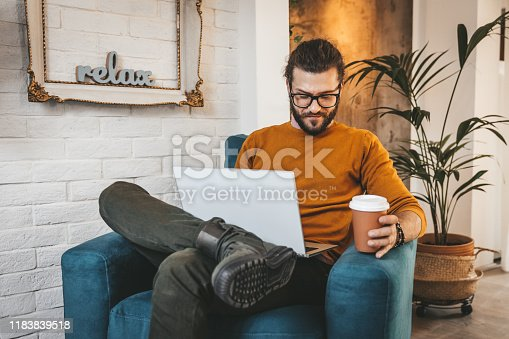 944652612 istock photo Smiling handsome freelancer working with laptop 1183839518