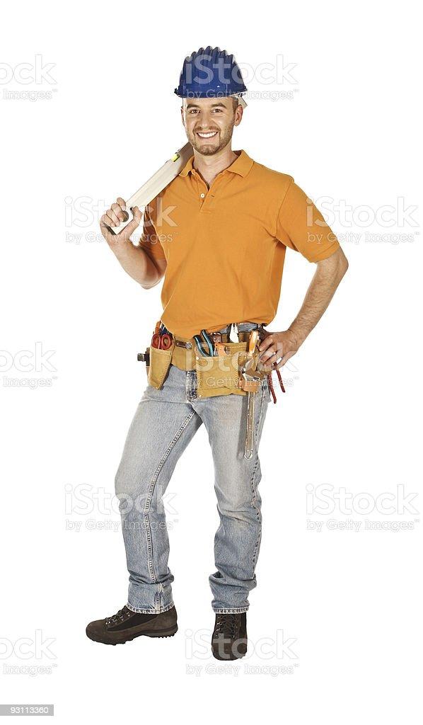 smiling handyman royalty-free stock photo