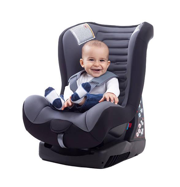 smiling happy adorable baby sitting in car seat - remmar godis bildbanksfoton och bilder