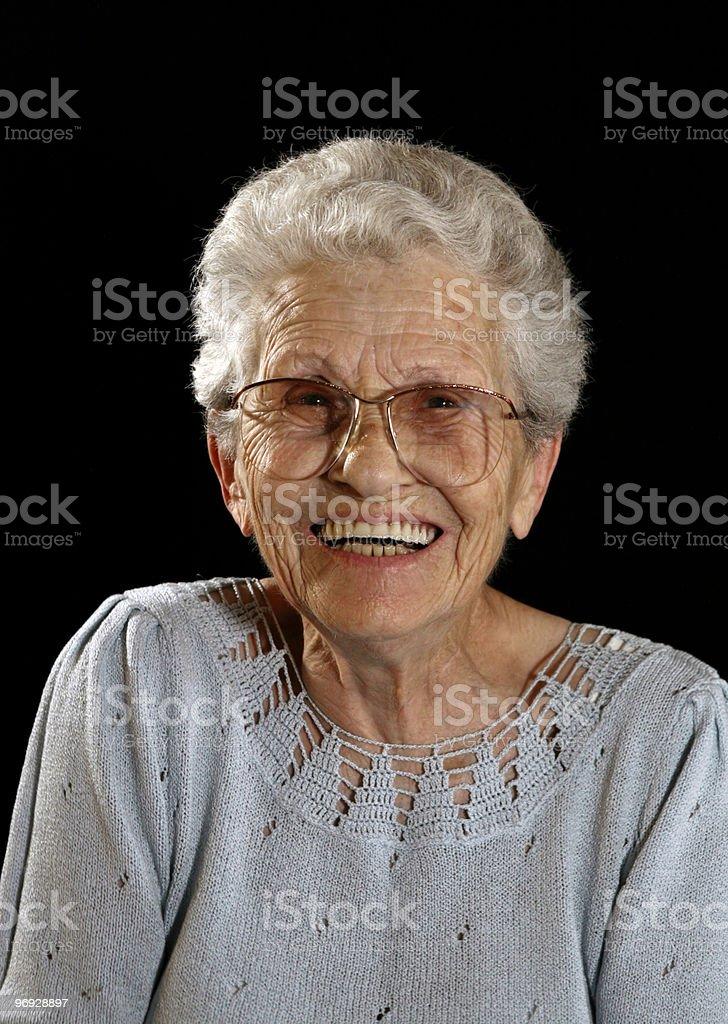 Smiling Happy Elderly Woman on Black royalty-free stock photo