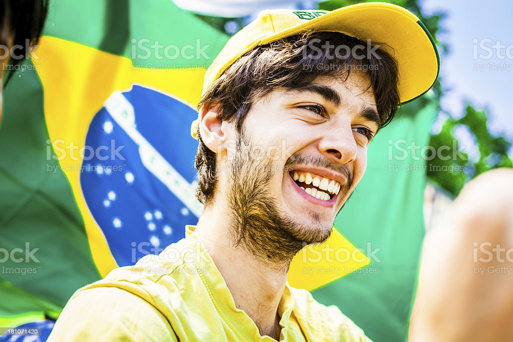 Smiling Happy Fan of Brasil Football Team royalty-free stock photo