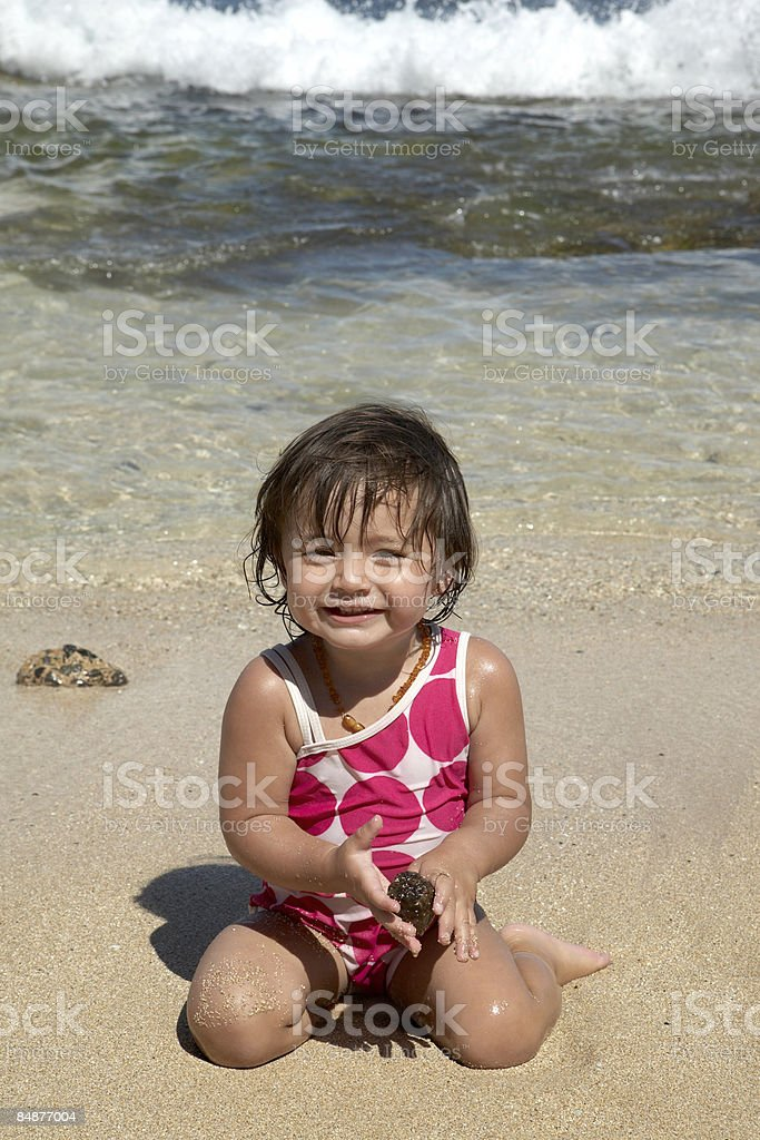 smiling happy girl on the beach royalty-free stock photo