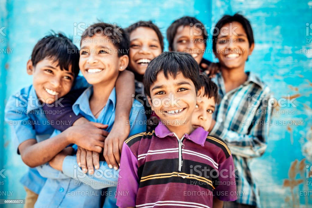 Smiling Happy Indian School Boys Together Rajasthan India Real People Portrait royalty-free stock photo