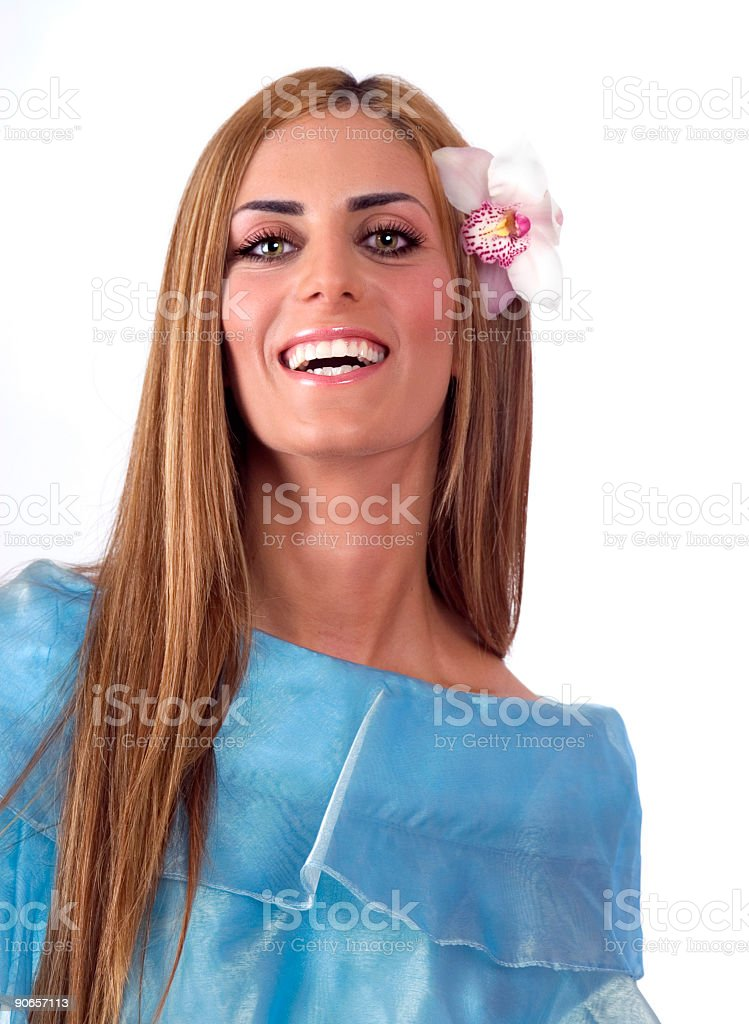 Smiling Happy Woman With Flower stock photo